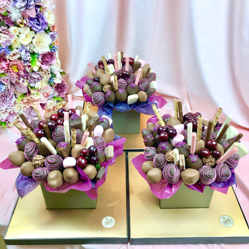 """Sweet Beat"" Chocolate Strawberries, Cherries, Blueberries - Edible Bouquet"