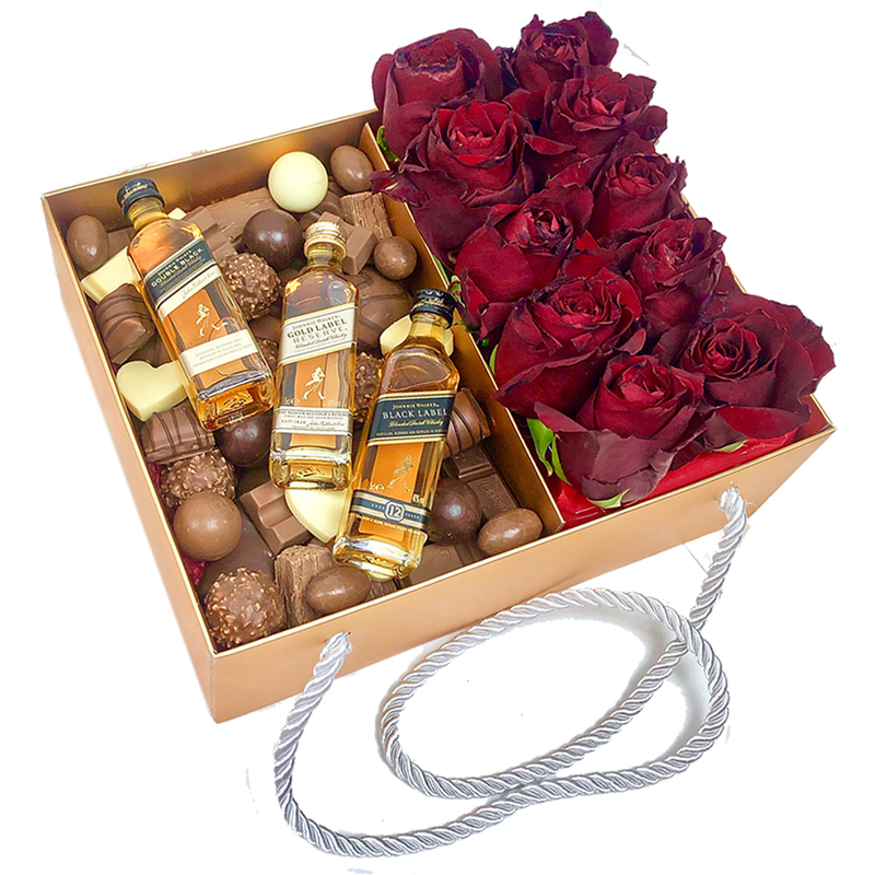 Chocolates Assortment, 3 Whiskey & Roses Gold Box