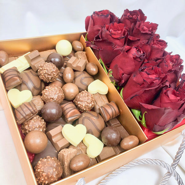 Chocolates Assortment & Roses Gold Box