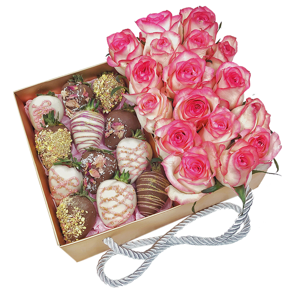 Dozen Chocolate strawberries & coloured Roses Gold Gift box