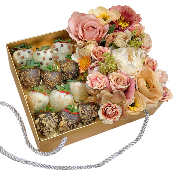 Dozen of Chocolate Strawberries & mixed flowers Gold Gift Box