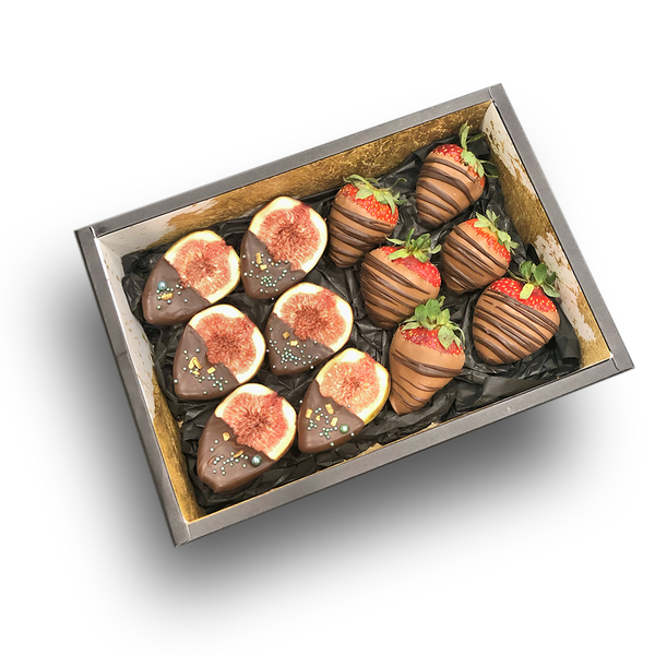 """Choco Berries"" Chocolate Strawberries + Figs Dessert box"
