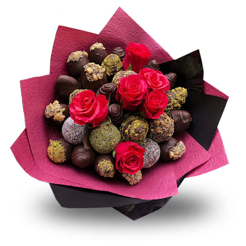 Vegan Chocolate Strawberries & Protein Bliss Balls Bouquet