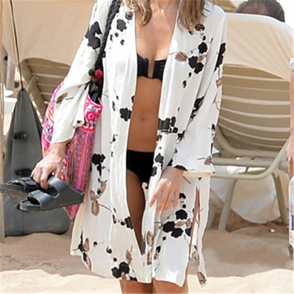 Japanese Cherry Blossom Print Beach Cover Up