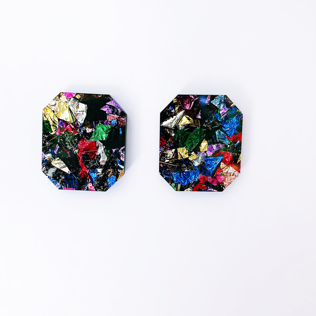 Chunky multi coloured foil studs