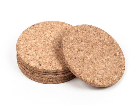Thick Round Cork Coasters - Pack of 6