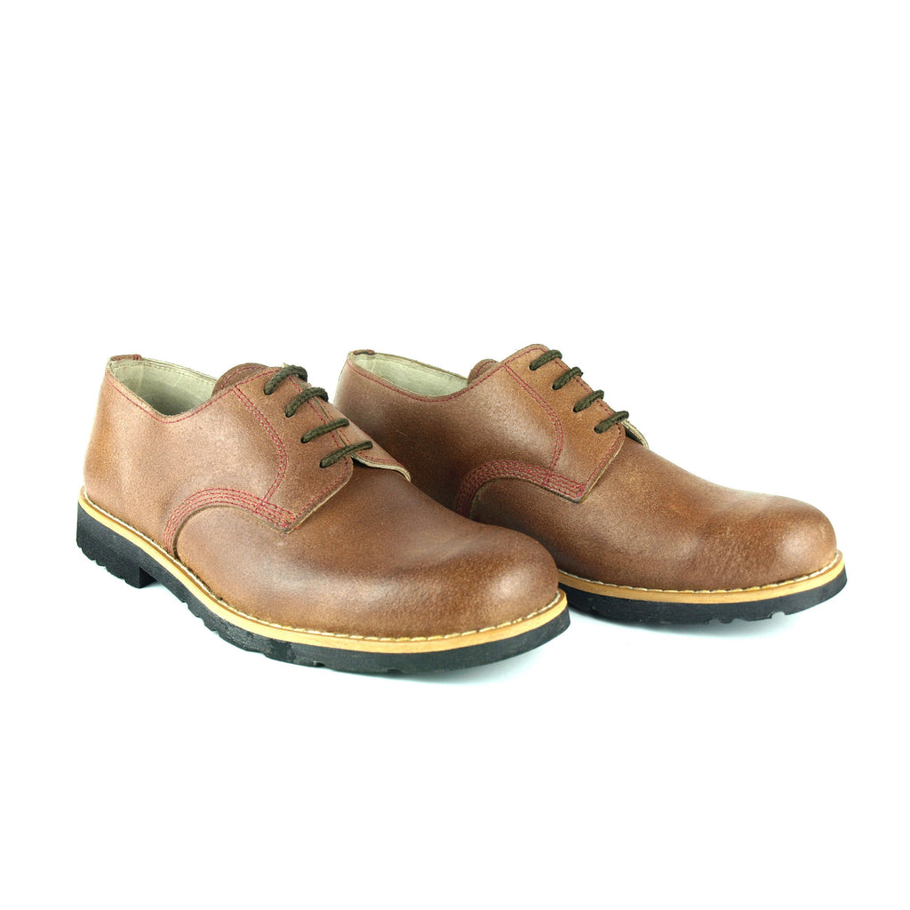 Traditional Leather Shoes with Recycled Car Tyres Soles Made in Portugal