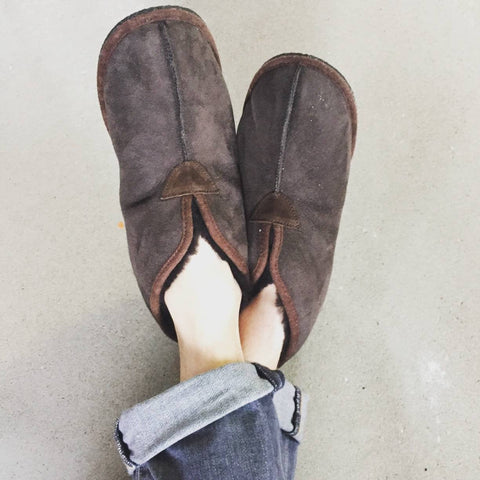 Dark Brown Merino Sheepskin Slipper Boots