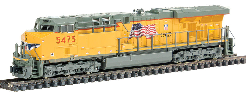 Kato N GE ES44AC GEVO - Standard DC -- Union Pacific #5475 (Armour Yellow, gray, US Flag & Building America Logo)