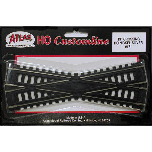 "Atlas HO Custom-Line(R) Crossing - Code 100 - 19-Degree, 6""  15.2cm, Black Ties"