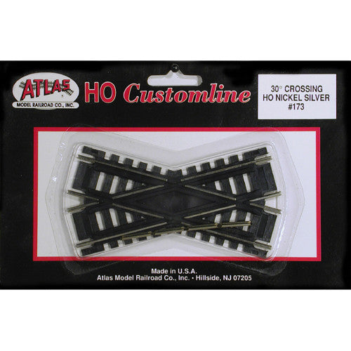 "Atlas HO Custom-Line(R) Crossing - Code 100 - 30-Degree, 4""  10.2cm, Black Ties"
