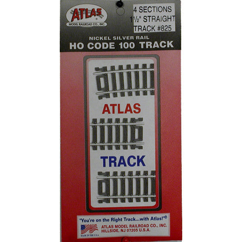 "Atlas HO Straight Snap-Track(R) Nickel-Silver Rail - 1-1/2"" (Black Ties) Pkg. (4)"