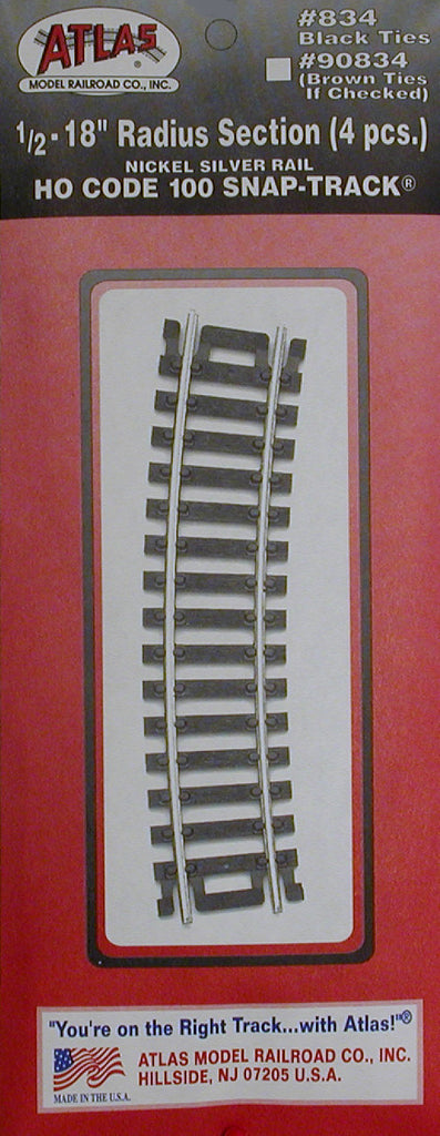 "Atlas HO Code 100 Curved Snap-Track(R) Nickel-Silver Rail - 1/2 Section, 18"" Radius (Black Ties) Pkg. (4)"