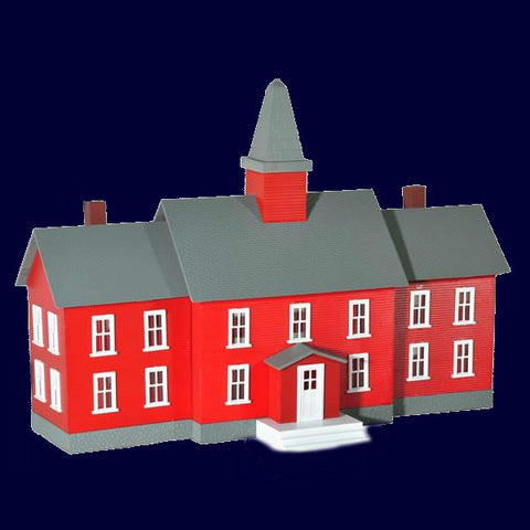 Model Power HO Little Red School House Lighted w/2 Figures Built-Up