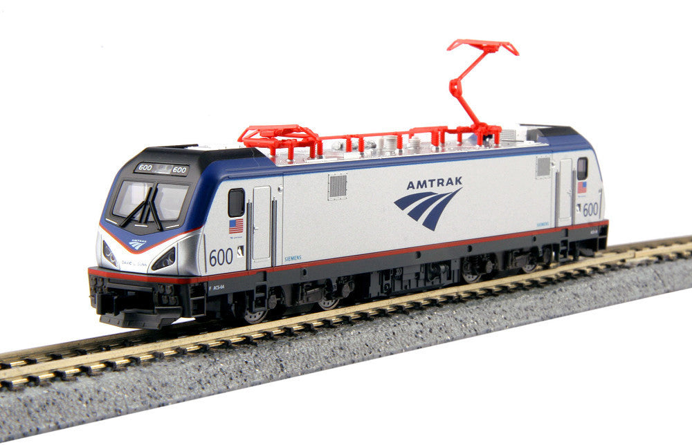 Kato N Siemens ACS-64 Electric - Standard DC - Amtrak #600 David L. Gunn (silver, blue, red, Travelmark Logo)