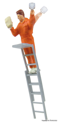 Viessmann HO Animated Man on Ladder Working on Billboard/Poster