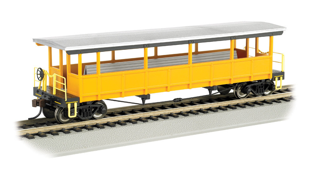 Bachmann HO Open Sided Excursion Car w/Seats, Painted Unlettered - Silver/Yellow