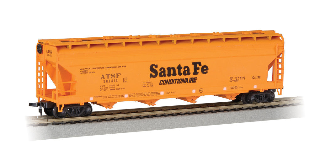 Bachmann HO HO 56' Centerflow Hopper, Santa Fe/Orange