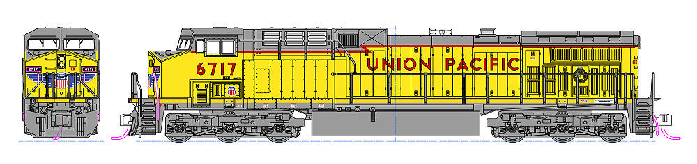 Kato N GE AC4400CW - Standard DC -- Union Pacific #6735 (Armour Yellow, gray)