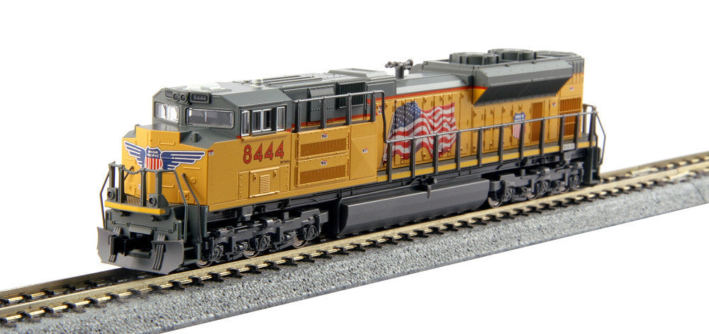 Kato N EMD SD70ACe - Standard DC -- Union Pacific #8444 (Armour Yellow, gray; Building America Logo, US Flag)