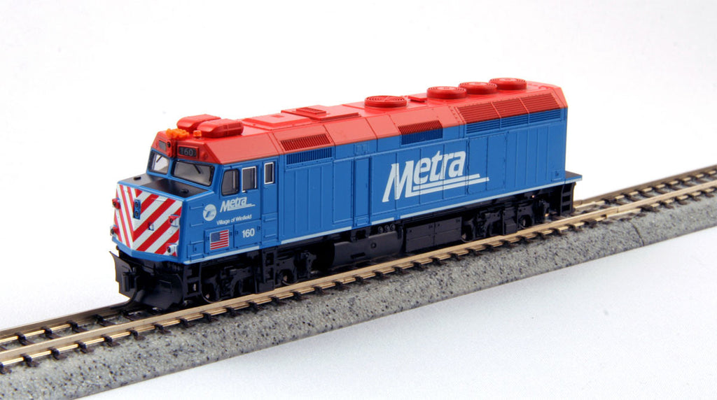 "Kato N EMD F40PH Commuter Version - Standard DC -- Metra #160 ""Village of Winfield"" (blue, red, white)"