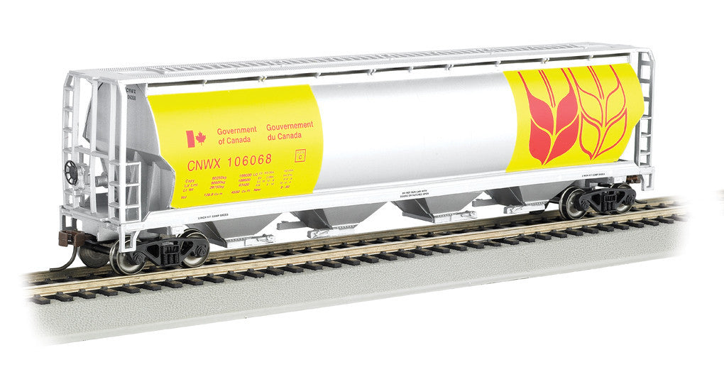 Bachmann HO 4 Bay Cylindrical Grain Hopper, Government of Canada/Yellow