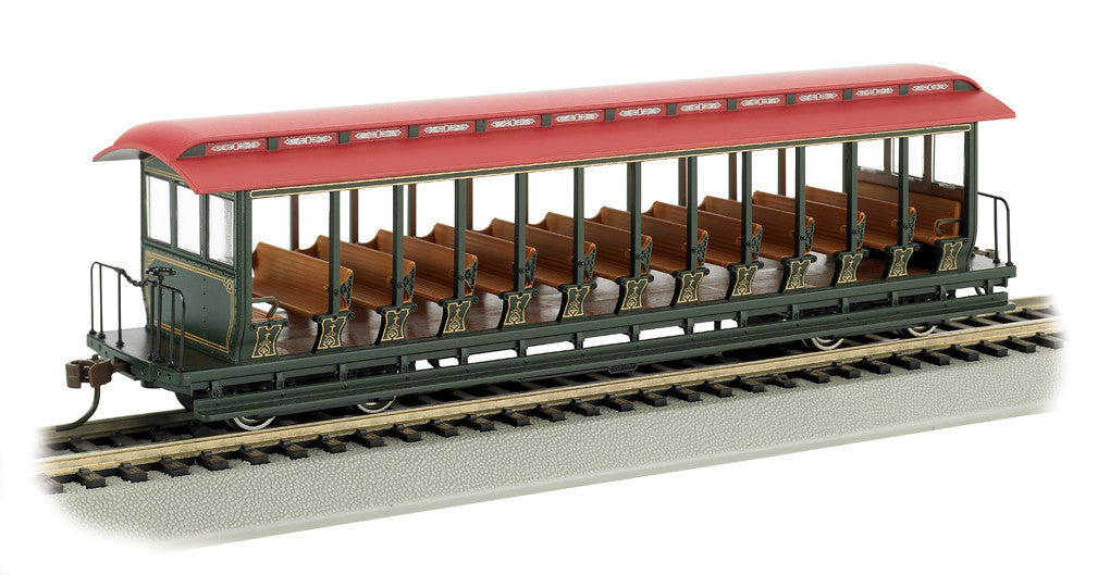 Bachmann HO Jackson Sharp Open-Sided Excursion Car w/Seats, Unlettered Green/Red