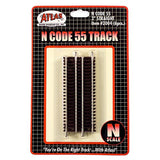 "Atlas N Code 55 Track w/Nickel-Silver Rail & Brown Ties - Straight - 3"" Pkg. (6)"
