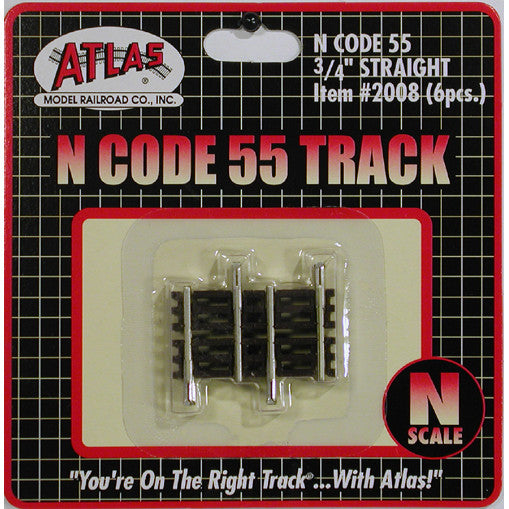 "Atlas N Code 55 Track w/Nickel-Silver Rail & Brown Ties -- Straight - 3/4""  1.9cm pkg(6)"