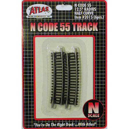 "Atlas N Code 55 Track w/Nickel-Silver Rail & Brown Ties -- 12-1/2"" Radius Half Curve pkg(6)"