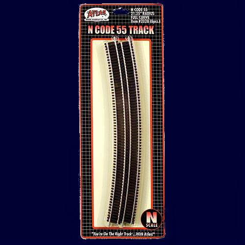 "Atlas N Code 55 Track w/Nickel-Silver Rail & Brown Ties - 21-1/4"" Radius Full Curve Pkg. (6)"