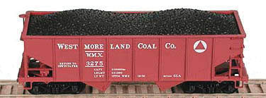Bowser Trains N PRR Class GLa 2-Bay Open Hopper - Ready to Run - Westmoreland Coal Co. #3256 (Boxcar Red)
