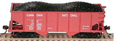 Bowser Trains N PRR Class GLa 2-Bay Open Hopper - Ready to Run - Canadian National #117383 (Boxcar Red)