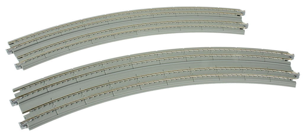 "Kato N Curved Double Concrete Slab Superelevated Track - Unitrack -- 16-3/8 & 15""  414 & 381mm, 45-Degree Easements (1 Left, 1 Right)"