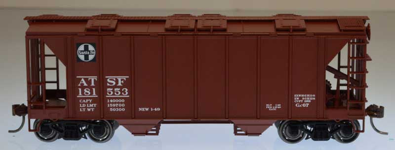 Bowser Trains HO 70-Ton 2-Bay Closed-Side Covered Hopper - Ready to Run - Executive Line - Santa Fe #181553 (Boxcar Red, Square Logo)