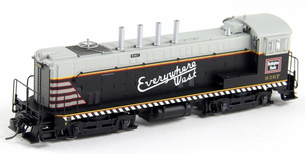 Bowser Trains HO Baldwin VO-1000 w/LokSound & DCC - Chicago, Burlington & Quincy #9379 (Black, Gray, Red, Yellow, Dashed Stripe)