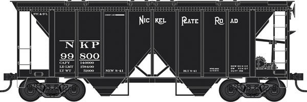 Bowser Trains HO 70-Ton 2-Bay Covered Hopper w/Open Sides - Ready to Run - Executive Line - Nickel Plate Road #99800 (Black)