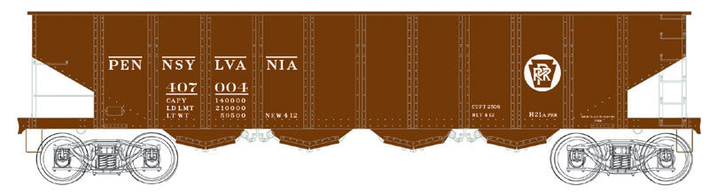 Bowser Trains HO H21 4-Bay Hopper w/Clamshell Doors - Executive Line - Pennsylvania Railroad #407044 (Tuscan, Circle Keystone) Ready to Run