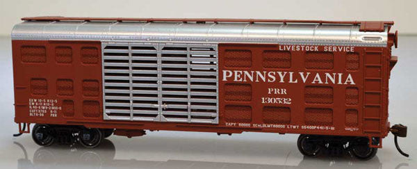 Bowser Trains HO Class K11 40' Stock Car - Kit -- Pennsylvania Railroad #130543 (Tuscan, silver)