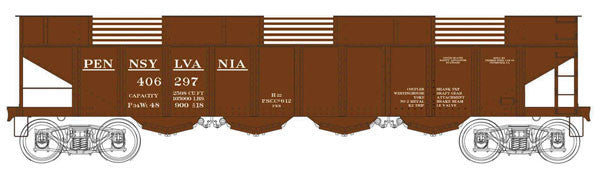 Bowser Trains HO H22 4-Bay Hopper w/Clamshell Doors - Executive Line - Pennsylvania Railroad #406299 (Tuscan) Ready to Run