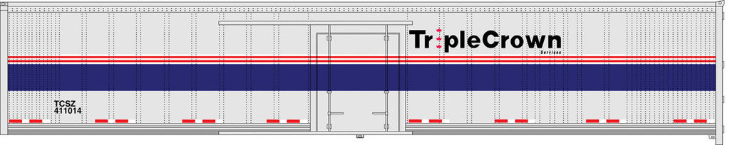 Bowser Trains HO Wabash National 53' Side-Door RoadRailer(R) - Executive Line - Norfolk Southern/Triple Crown #411014 (Ex-Amtrak Phase IV, Silver, Blue, Red) Ready to Run