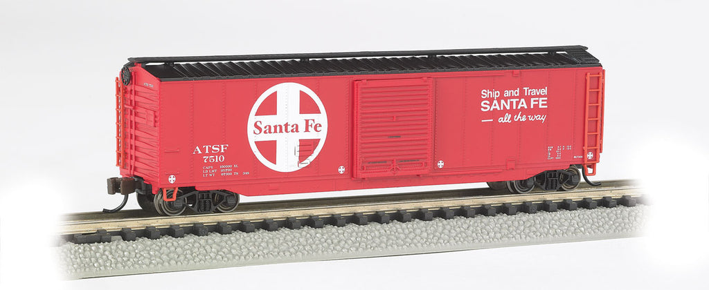 Bachmann N 50' Sliding Door Box, Santa Fe (Red, Black, White; Large Logo, Ship & Travel Slogan)