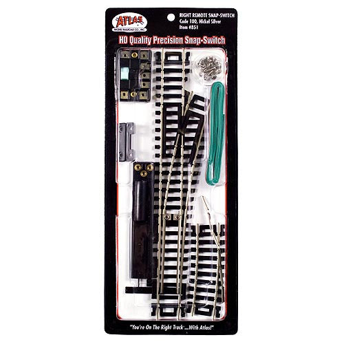 Atlas HO Remote Control Snap-Switch(R) w/Code 100 Nickel-Silver Rail & Black Ties - Right Hand