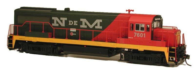Bowser Trains HO GE U25B - Standard DC - Executive Line - Nacionales de Mexico #7613 (Red, Black,Yellow)