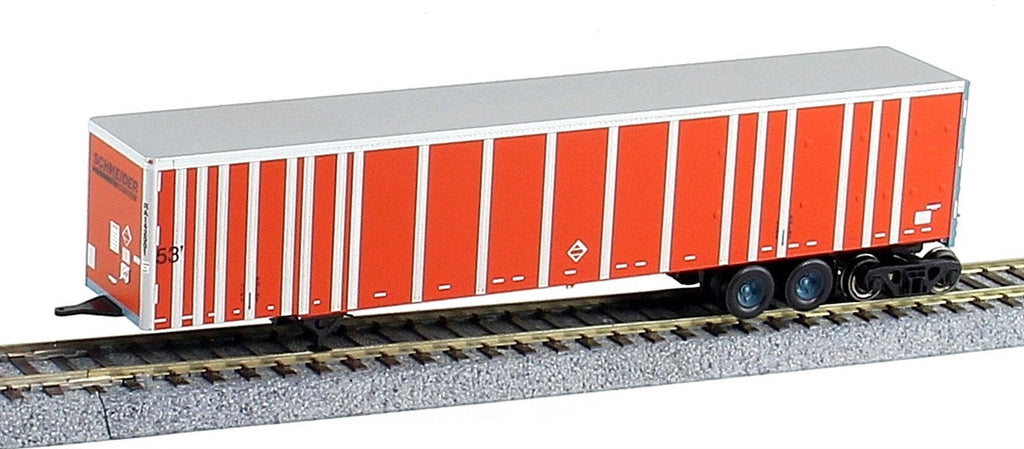 Bowser Trains HO 53' Plate-Wall RoadRailer(R) - Ready to Run - Executive Line -- Schneider National #142257 (orange, black)