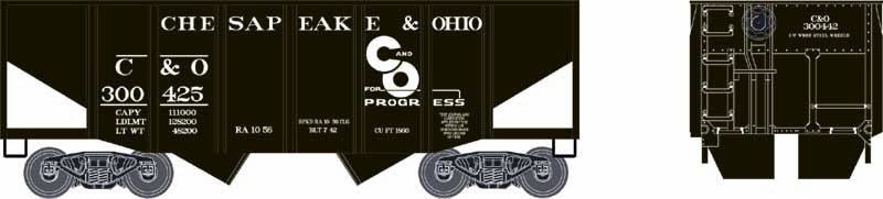 Bowser Trains HO 55-Ton Fishbelly) 2-Bay Open Hopper - Ready to Run - Chesapeake & Ohio #300425 (Black, White, Progress Logo)