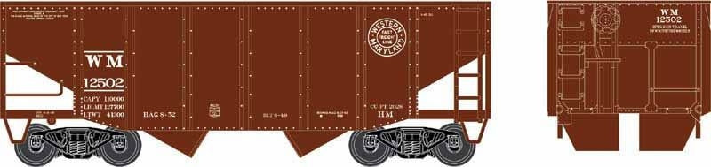 Bowser Trains HO 55-Ton Fishbelly) 2-Bay Open Hopper - Ready to Run - Western Maryland #12596 (Boxcar Red, Fast Freight Circle Logo)