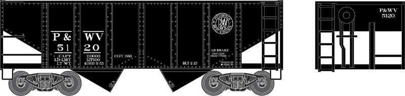 Bowser Trains HO 55-Ton U-Channel 2-Bay Open Hopper - Pittsburgh & West Virginia #5139 (Black) Ready to Run
