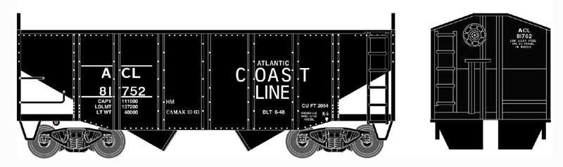 Bowser Trains HO 55-Ton Fishbelly) 2-Bay Open Hopper w/Peaked Ends - Ready to Run - Atlantic Coast Line #81763 (Black)