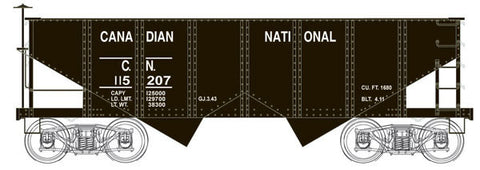 Bowser Trains HO PRR Class GLa 2-Bay Open Hopper - Ready to Run - Executive Line -- Canadian National #115207 (black)